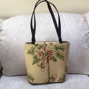 Handbags - Monkey Palm Tree Fabric Handbag
